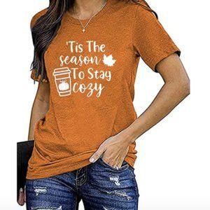 Tis The Season To Stay Cozy Rust Orange Graphic T-Shirt